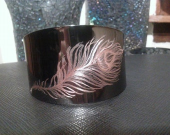 Hand Etched Metal Bracelet Cuff