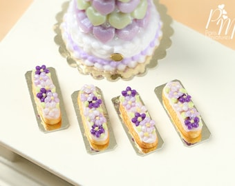 French Eclair Decorated with Purple and Lilac Blossoms - Individual Pastry - Miniature Food for Dollhouse 12th scale 1:12
