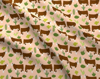 Hereford Cattle Fabric - Hereford Cow Cattle Cactus  By Petfriendly - Hereford Desert Farm Texas Cotton Fabric By The Yard With Spoonflower