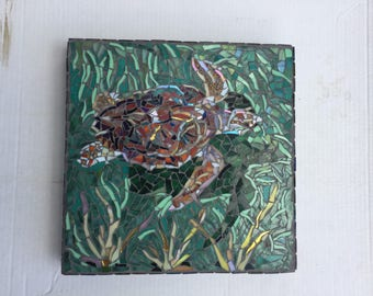 Custom Designed Turtle Theme Stained Glass Mosaic Garden Stepping Stone