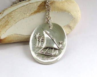 tropical work boat necklace, sailboat  necklace, sailing necklace, nautical necklace, silver plate necklace, handmade necklace