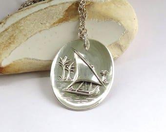 Tropical necklace, Sailboat  necklace, Sailing necklace, Nautical necklace, silver plate necklace, handmade necklace