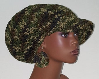 Camouflage Medium Brimmed Crochet Cap and Earrings by Razonda Lee Razondalee