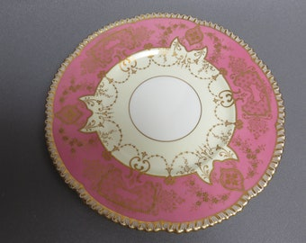 spectacular Antique Royal Cauldon China gold encrusted pink cabinet plate 10.5""