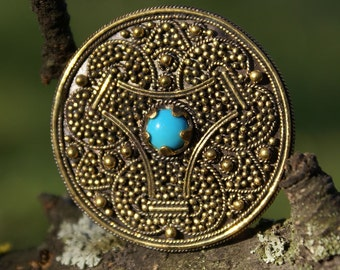 Brooch with turquoise. Viking brooch. Viking Jewelry. Medieval jewelry. Medieval brooch