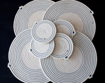 Cotton rope placemats in Ocean Blue - matching coasters available // handmade table mats / coasters / tableware /