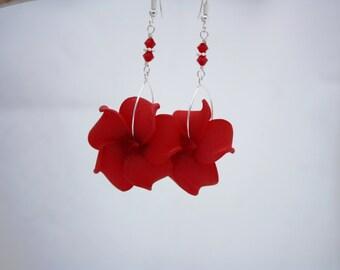 Red Flower Earrings Plumeria, Frangipani Floral Earrings, Hawaii Jewelry Hawaiian Jewelry, Tropical Flower Flower Jewelry Floral Jewelry 019