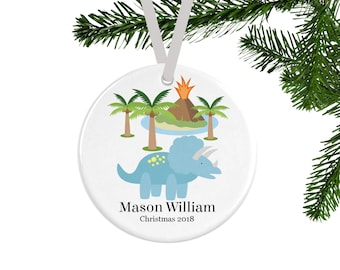 Personalized Christmas Ornament, Triceratops Dinosaur Christmas Decor, Ornament for Boys, Christmas Tree Decorations, Gifts for Kids