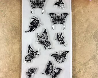 Clear Stamp Set,Butterfly,Greeting Card,Saying,Banner, Birds Flowers,Spring,Fairy,Scrapbook,Stationery,Paper Stamping