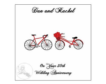 Handmade Personalised 30th Wedding Anniversary Card Road Bikes Bicycle Hearts Pearl