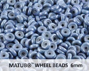 10 g Chalk Blue Luster Czech Glass Wheel Beads 6 mm (8969)