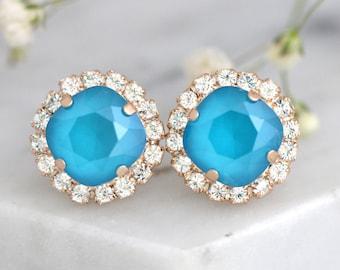 Blue Earrings, Bridal Blue Sky Earrings, Blue teal Crystal Swarovski Earrings, Bridesmaids Earrings, Sky Blue Earrings, Bridal Blue Earrings