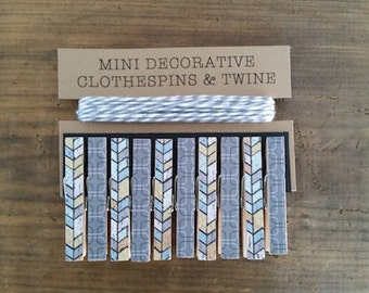 Mini Clothespins with Grey Twine. Shades of Grey, Blue and Yellow Fishbone.  Card Holder. Photo Clothesline. Kids Art Display.