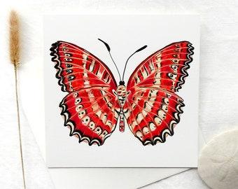 butterfly art card, art print, red butterfly, wall art, cethosia biblis, art print card