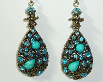 """""""turquoise seashell"""" bronze earrings jewelry"""