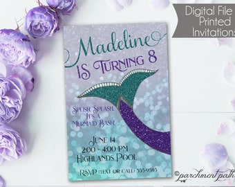 Mermaid Birthday Invitation - Under the Sea Party - Printable - Mermaid Party - First Birthday - Girl Birthday Party - Pool Party
