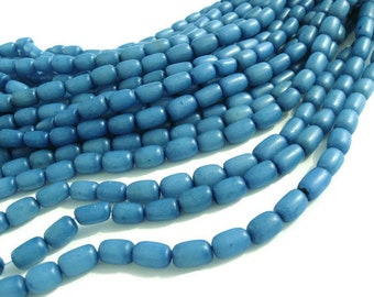 Sky Blue Buri Seed Tube Beads 11x7mm (PN202C)