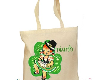 Irish Dance Bag - Irish Gift Bag - Tote St. Patrick - Girl Dance Irish - Shamrock Canvas Tote - Personalized Tote Retro Gift Canvas Vintage