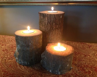 Oak Log Pillar Candle Holders (Set of 3)