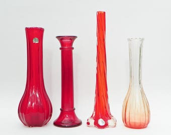 Vintage Red Orange Glass Vase Collection Set - Snowflakes - Action International - Ribbed Ridged Swirled Gradient - Stem Vases