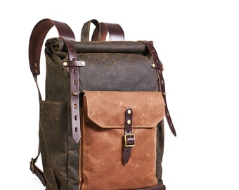 Waxed canvas leather backpack.  Rolltop Hipster backpack in dark olive color. Travel bag