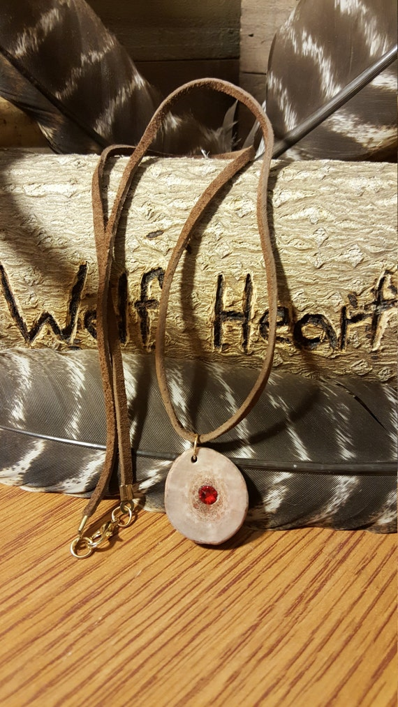 Deer Antler Slice With Ruby Red Crystal Gem Center On Leather Wrap Necklace Native American Style Fashion