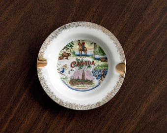 Canada Ashtray, Decorative Gold Ceramic Dish, Mid Century Decor, Canada Souvenir, Vintage 1950s, Made in Japan, Canadian Mountie, Parliament