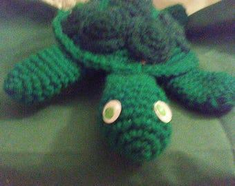 """Crocheted Stuffed Turtle 11"""" long"""