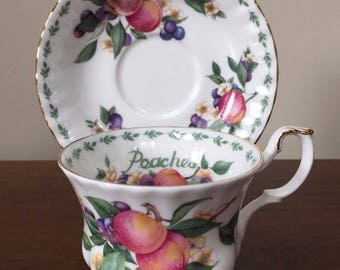"Vintage Royal Albert Covent Garden ""Peaches"" Footed Cup and Saucer Set"