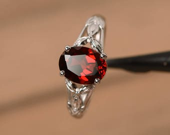 real natural red garnet ring engagement wedding ring oval cut sterling silver ring gemstone ring January birthstone ring