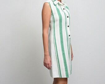 1960s mod dress, linen dress, hand embroidered dress, button front mod dress small medium