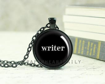 Writer Necklace - Black Writer Pendant - Gift for Writer - Author Gift - Storyteller - Writing Necklace - Author Jewelry -  (B4114)