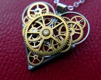 "Watch Parts Heart Necklace ""Radcliffe"" Steampunk Pendant Industrial Clockwork Mechanical Gear Love Gift Wife Girlfriend Birthday Gift"