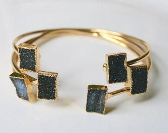 Black Raw Druzy Stone Bangle Edged in Gold - vertical