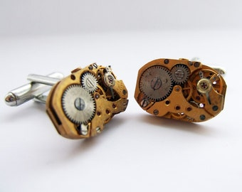 Gold steampunk cufflinks