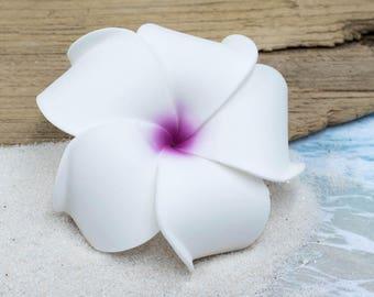 Purple Hair Clip, White Hair Flower,   White Hair Clips,   Alligator Clip,  Hair Clips, Bridal Accessory
