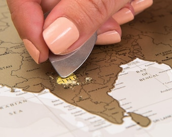 Personalized Travel Map of the World Scratchable Off with Push Pins