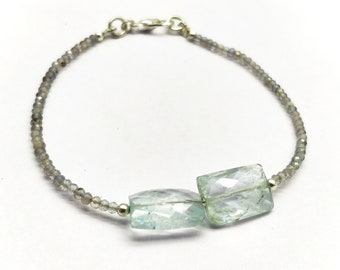 Natural Labradorite With Aquamarine 2-10x13 mm Rondelle,Rectangle Faceted Beaded Bracelet 7 inch With Silver Filled Lock.