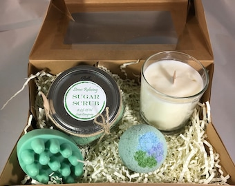 Stress Relieving Home Spa Set Spearmint Eucalyptus Peppermint Gift Idea for her Bridesmaid Proposal Mothers Day Gift Aromatherapy Gift Set
