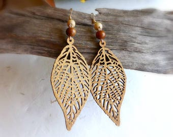 Gold shimmer leaf wood earrings , Natural wooden jewellery , Nature leaves for her, 5th anniversary gift for wife , lightweight eco earrings