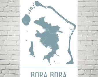 Bora Bora Map, Bora Bora Art, Bora Bora Print, Bora Bora Poster, Bora Bora Wall Art, Bora Bora Gift, Map of Bora Bora, Decor, Modern, Art