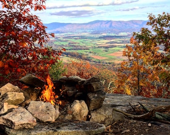 Camping fire in the mountains. Scenic view, photography print