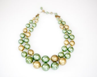 Vintage Chunky Green and Gold 2-Stranded Beaded Necklace