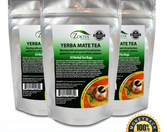 Yerba Mate Tea 3-Pack 100% Pure (90 Bags) All-Natural Immune System Support