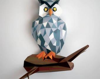Owl papercraft | DIY wall mount | 3D paper sculpture | Printable & downloadable PDF pattern | Low poly bird of prey model