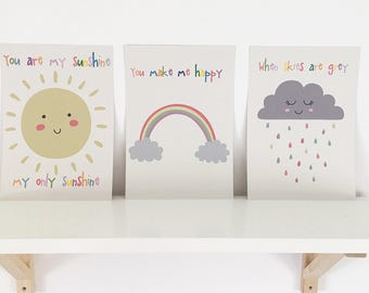 Set of three nursery prints, you are my sunshine
