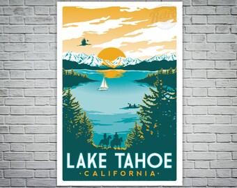 Lake Tahoe Vintage Travel Poster Screenprint Teal