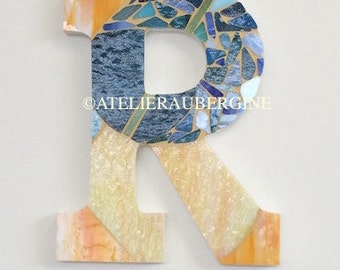 Monogram, Letter R # 8, typography with stained glass mosaic, custom letter, mosaic hanging letter.