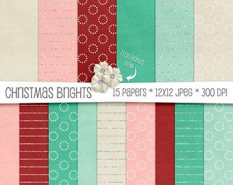 Christmas Brights Velvet  Paper Pack - Teal, Red, Pink & Cream - 15 High Resolution Printable JPEGs - 300 DPI - 12x12 - CU OK