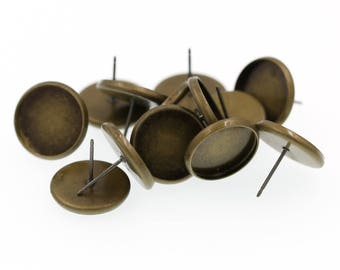 14mm Antiqued Brass Earring Tray Settings, Earring Backs INCLUDED